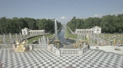 Petergof, Russia (Petrodvorets) fountain view Stock Footage