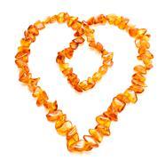 amber heart - stock photo