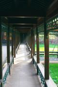 corridor in chengde imperial summer resort - stock photo