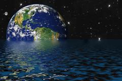 Hukkuminen maa ilmaston lämpenemisen takia ja kasvihuoneilmiö Piirros