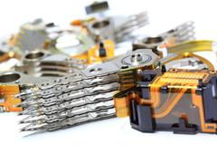 Parts, hard disk read heads. - stock photo
