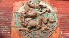 ancient carvings of dragon - stock photo