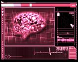 Stock Illustration of Pink brain interface technology
