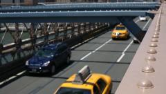 traffic on Brooklyn Bridge - stock footage