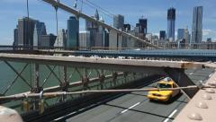 Traffic over Brooklyn Bridge Stock Footage