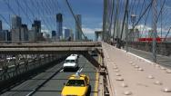 Stock Video Footage of traffic over Brooklyn Bridge