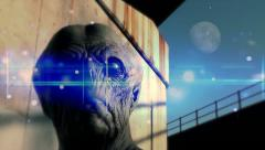 Aliens Among Us (FX) - alien head turn under moon - stock footage