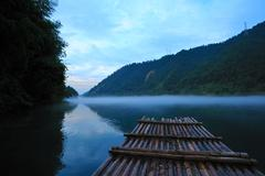 river landscape at sunset - stock photo