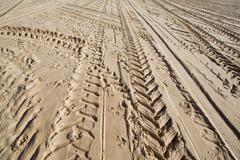 Tractor wheel tracks in golden beach sand Stock Photos