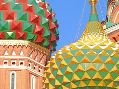 cupola of st. basil's cathedral in red square, moscow, russia - stock photo