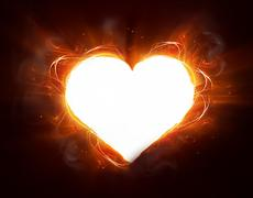 fire heart - stock illustration