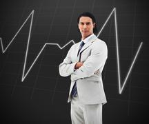 Man standing in front of a statistic graph Stock Photos