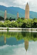 Landmarks of the famous three pagodas Stock Photos