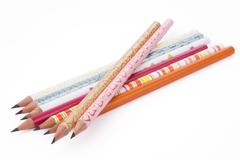 Colorful pencils collection for schoolchildren on white. Stock Photos
