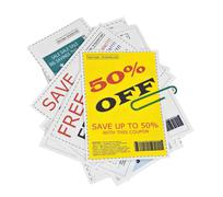 fake coupon clippings with paper clip - stock photo