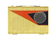 grungy vintage 1950's googie radio - stock photo