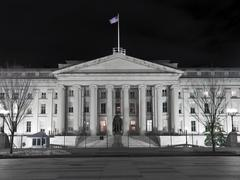 united states treasury building - washington dc - stock photo