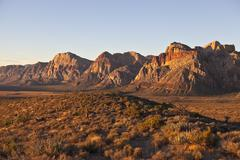 Dawn light at red rock national conservation area, nevada Stock Photos