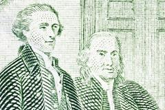 thomas jefferson and benjamin franklin macro close up us two dollar bill - stock photo