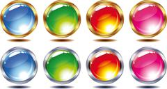 Buttons. transparent shining buttons in silver and gold frame isolated on a w Stock Illustration