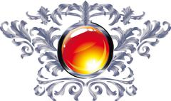 Round buttons on the frame of silver heraldic branches  isolated on a white b Stock Illustration