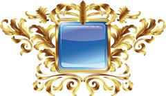 square buttons on the frame of gold heraldic branches isolated on a white bac - stock illustration