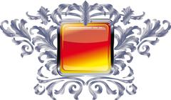 Square buttons on the frame of silver heraldic branches  isolated on a white  Stock Illustration