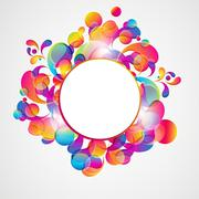 abstract background with bright circles and teardrop-shaped arches. - stock illustration