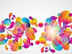 Abstract background with bright circles and teardrop-shaped arches. Stock Illustration