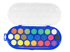 new watercolor box with many tones - stock photo
