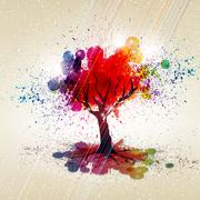 Abstract colorful background. tree with a crown made ??of stain. vector illus Stock Illustration