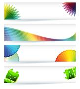 Multicolor gamut banner design in eps10 vector format. Stock Illustration