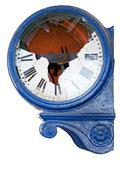 old and damaged retro clock with roman numeral from an abandoned train statio - stock photo