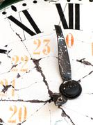 old and damaged retro clock with roman numeral - stock photo