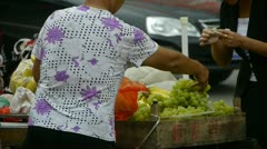 China town fairs market,selling grapes fruit. Stock Footage