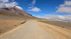 Driving thru Ecuadorian Andes on the way up to Chimborazo refugee at 5000m Stock Footage