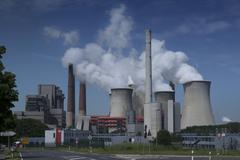 brown coal power plant - stock photo