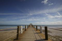 jetty on the beach - stock photo