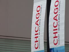 NATO Chicago Street Flags - Chicago 2012 Stock Footage