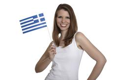 woman shows greece flag - stock photo