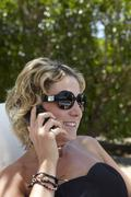 Woman on the phone - stock photo