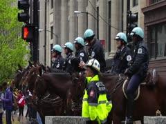 Chicago Police on Horseback Stock Footage