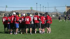 Sports & fitness, lacrosse game, team huddle and break Stock Footage