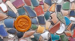 wall made of pottery pieces - stock photo