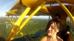 COCKPIT VIEW PIPER CUB AIRPLANE Stock Footage