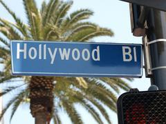 Hollywood blvd street sign Stock Photos