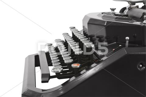 Stock photo of vintage typewriter profile