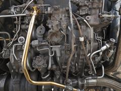 vintage jet engine detail - stock photo