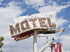 motel sign ruin - stock photo