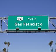 San francisco 101 freeway sign with palms Stock Photos
